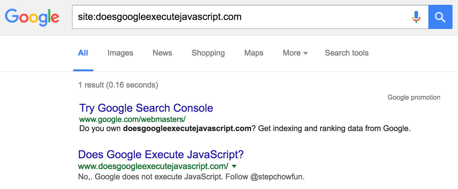 No,. Google does not execute JavaScript. Follow @stepchowfun.