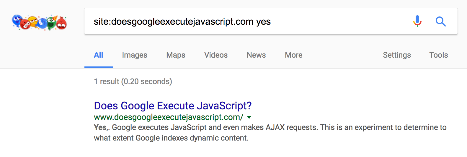 Yes,. Google executes JavaScript and even makes AJAX requests. This is an experiment to determine to what extent Google indexes dynamic content.
